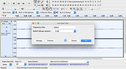 A screenshot of Audacity showing an audio file being edited