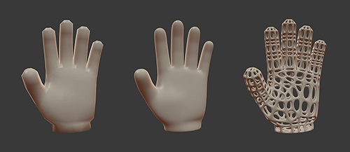 A blocky CGI hand, a smooth CGI hand, and a CGI hand rendered with a webby appearence