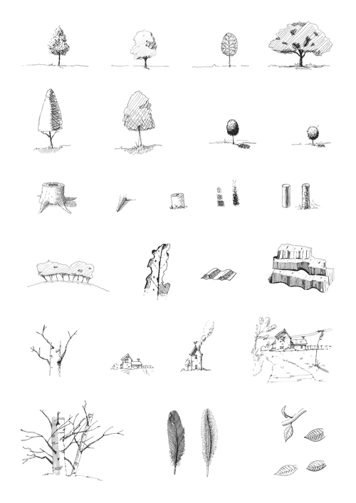 Pen and ink sketches of trees and buildings