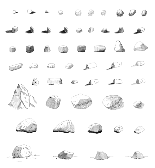 Pen and ink sketches of rocks