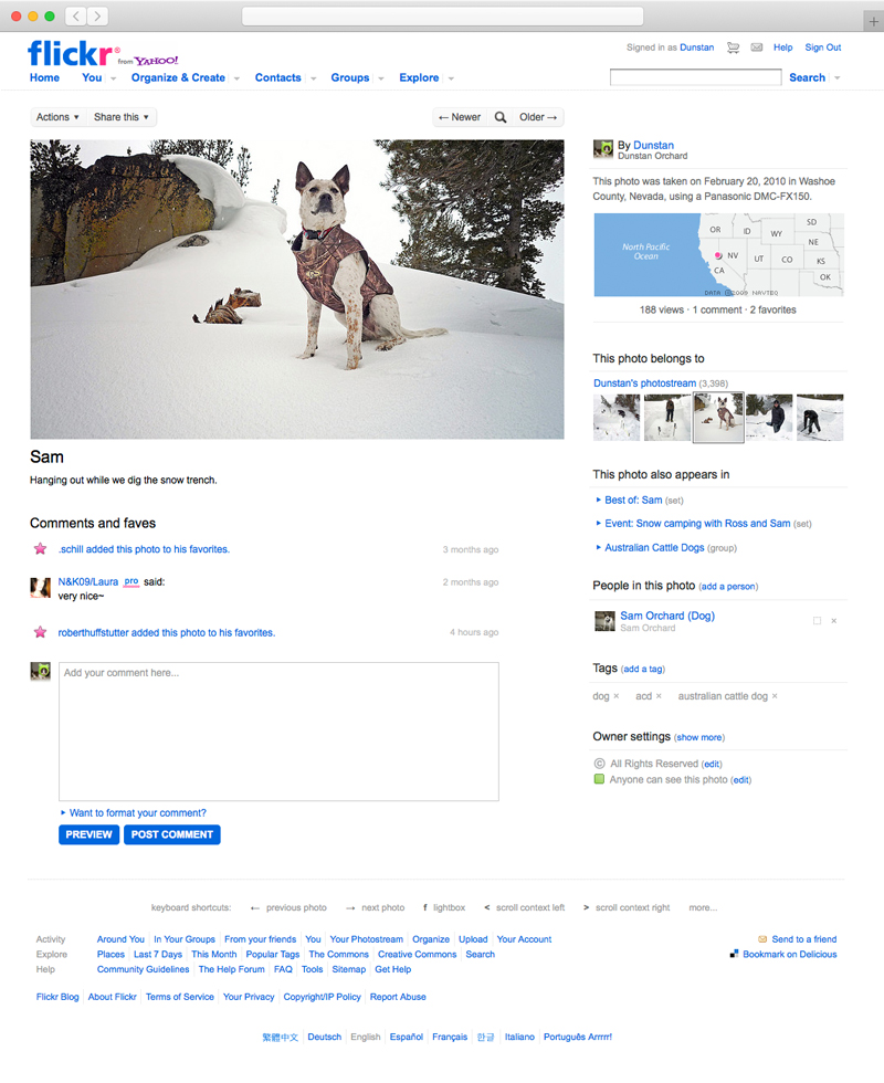 Screenshot of the redesigned version of Flickr's homepage