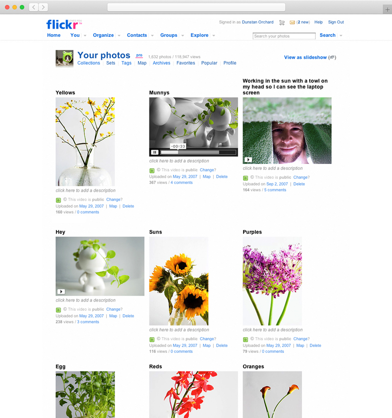 Screenshot of Flickr site showing both video and photo thumbnails