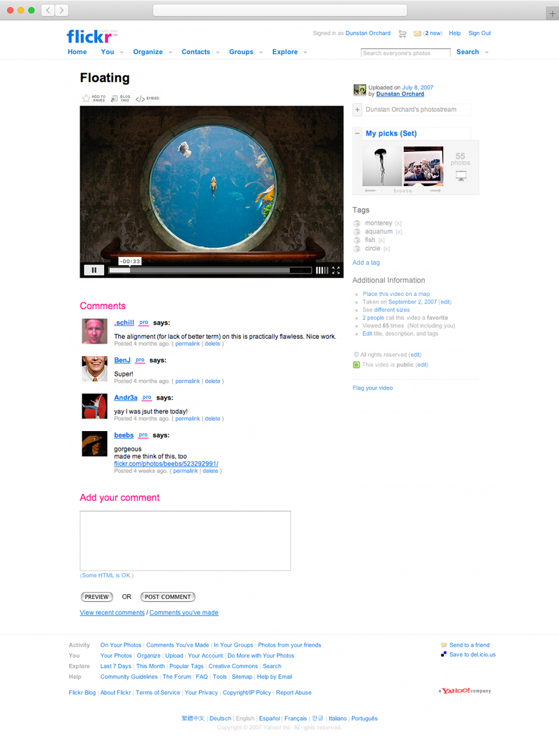 Screenshot of a video playing on Flickr